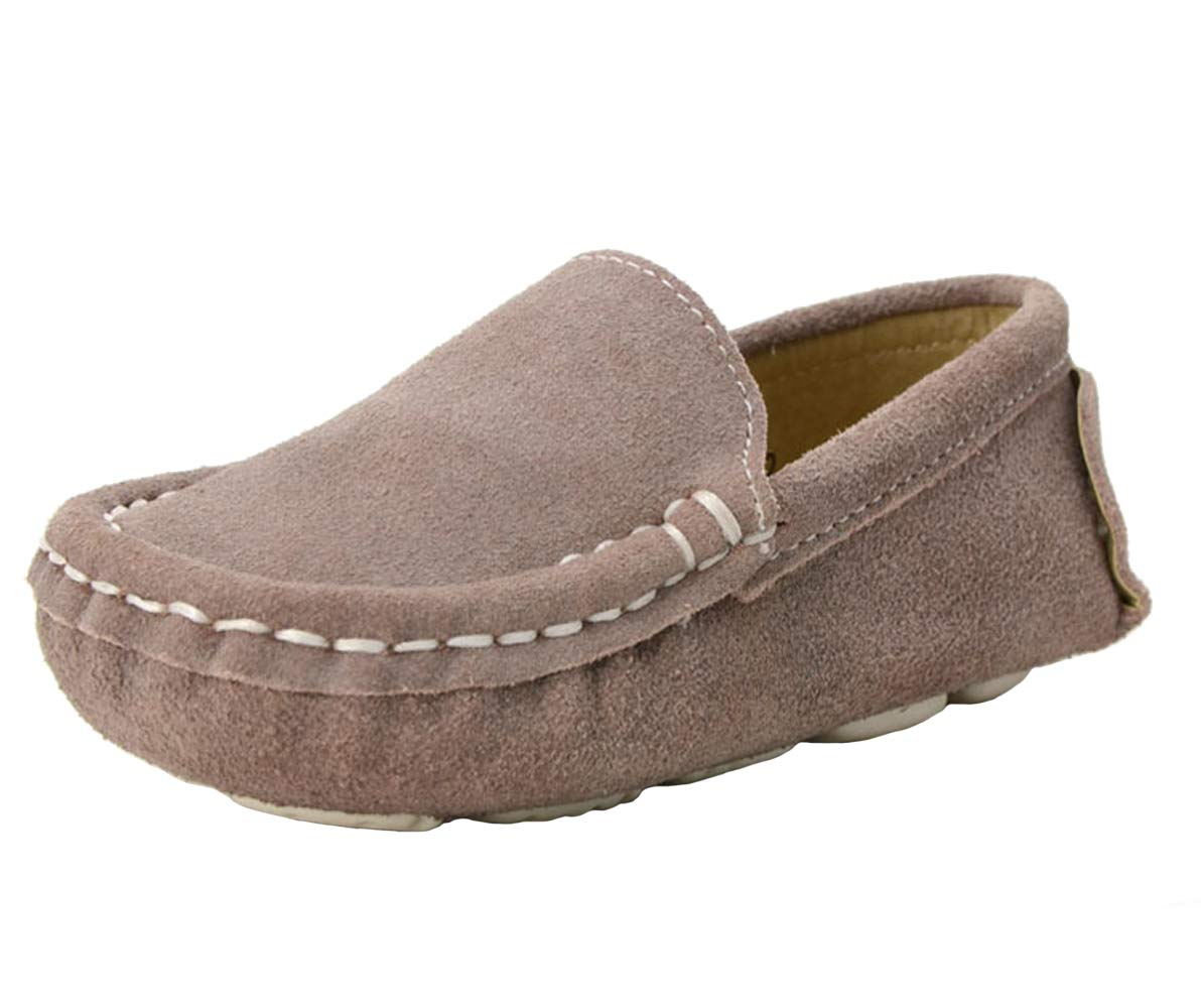 WUIWUIYU Boys' Girls' Suede Slip-On Loafers Flats Moccasins Comfort Casual Shoes Apricot Size 11 M