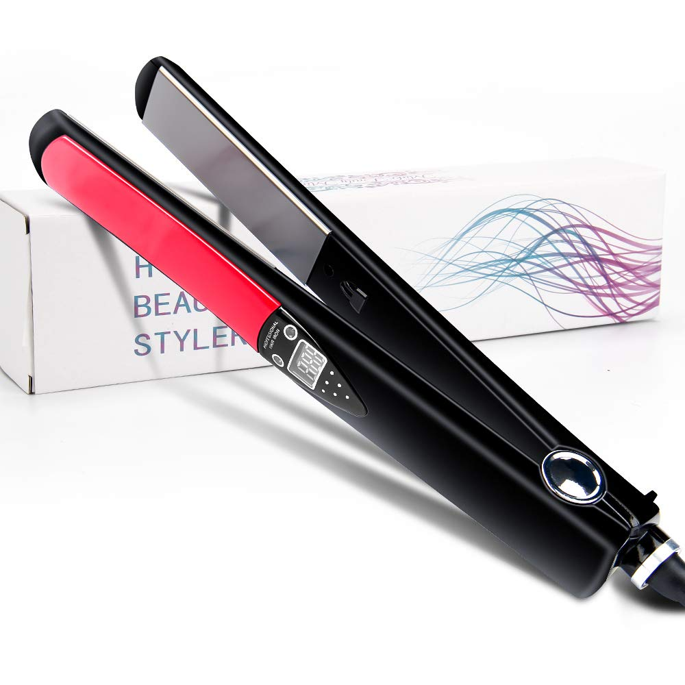 Hair Straightener, Professional Hair Flat Iron, 2 in 1 Hair Straightening Curler LED Digital Display 10s Instant Heat Up 10 Adjustable Temp Auto Shut Off Ceramic Iron 1 Inch Travel Size Hair Styling
