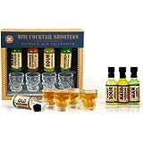 Four (4) Skull Shot Glass + Cocktail Shooter Set: Hard Lemonade, Old Fashioned, Man-garita & Whisky Sour