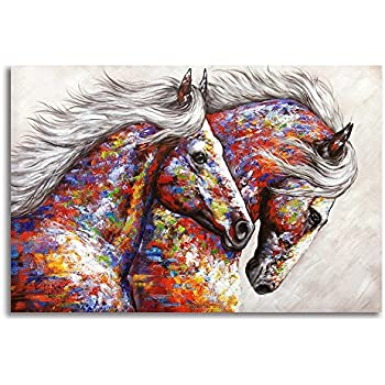 3eee2f6cd54 BYXART Animal Framed Wall Art for Living Room Bedroom Home Decor Colorful  Two Running Horses Prints and Posters Canvas Painting Horse Pictures for  Walls ...