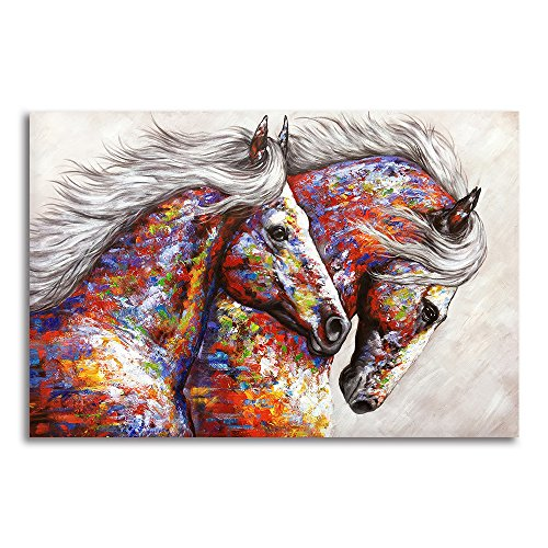 9e3832aa3b6 BYXART Animal Framed Wall Art for Living Room Bedroom Home Decor Colorful  Two Running Horses Prints and Posters Canvas Painting Horse Pictures for  Walls ...