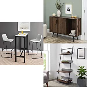 """Walker Edison Furniture Modern Faux Leather Upholstered Barstool, Set of 2, Gray 