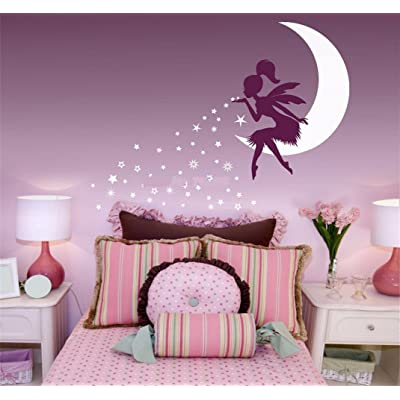 Wall Words Sayings Removable Lettering Wall Sticker Wall Decals Fairy Blowing Stars for Kids Room Girl Bedroom: Home & Kitchen
