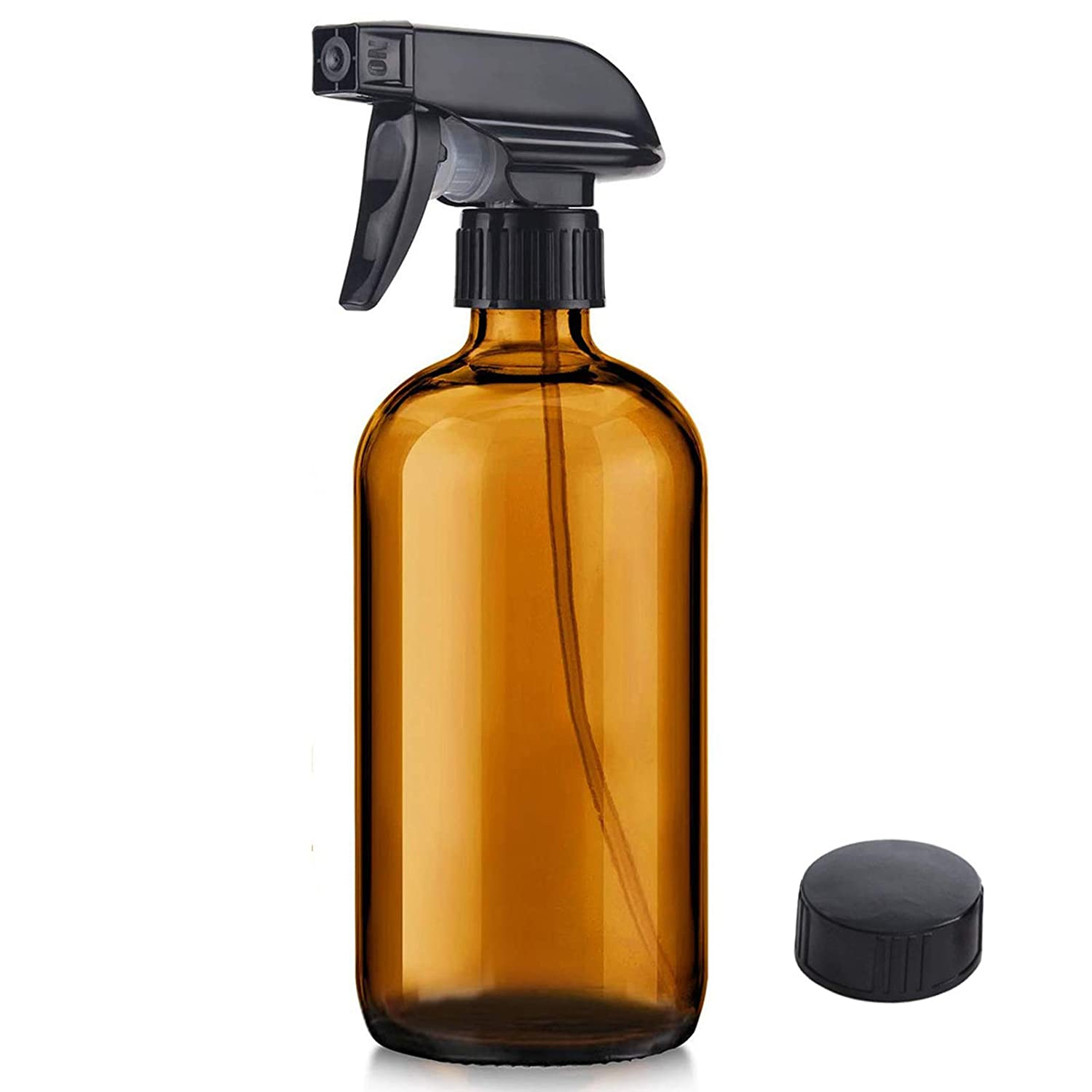 Glass Spray Bottle, Niuta 16 OZ Amber Glass Empty Spray Bottles with Labels for Plants, Pets, Essential Oils, Cleaning Products - Black Trigger Sprayer w/Mist and Stream Settings