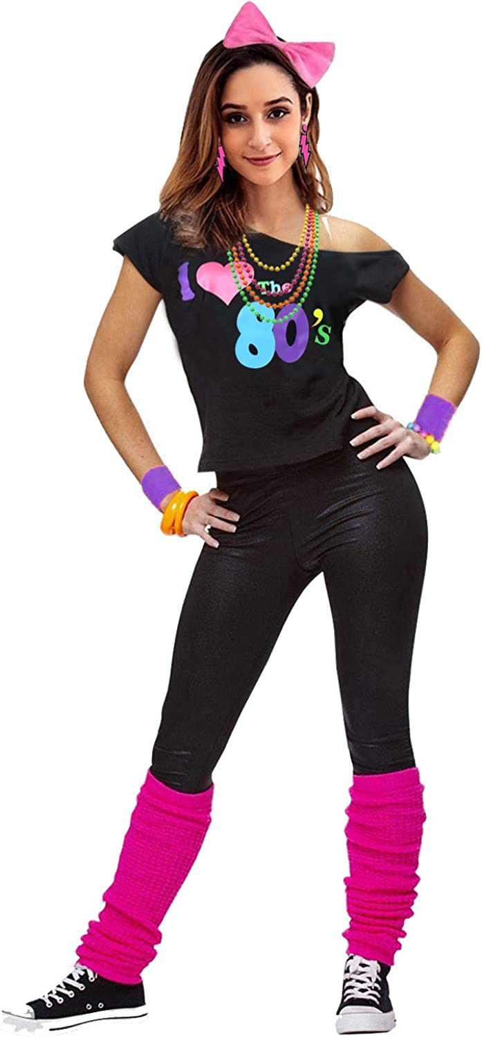Womens I Love The 80s Disco 80s Costume Outfit Accessories
