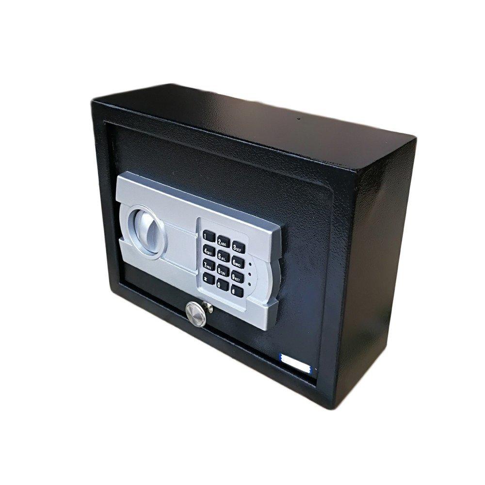 DR10EG Digital Electronic Steel Safe Box Black Body & Gray Panel, Lock Box, Fireproof Box, Money Box, Digital Lock for Gun Cash Jewelry Valuable Office Home Hotel, Digital Safe Box, Steel Alloy Drop