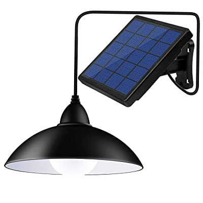 Bemexred Upgraded Solar Pendant Lights with Remote Control, Solar Powered Shed Lights Outdoor/Indoor, Auto On/Off Hanging Shed Lamp Dusk to Dawn for Barn Gazebo Storage Room Balcony Umbrella