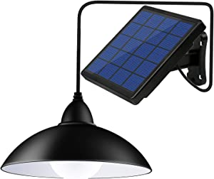 Bemexred Upgraded Solar Pendant Lights with Remote Control,Solar Powered Shed Lights Outdoor/Indoor,Auto On/Off Hanging Shed Lamp Dusk to Dawn for Barn Gazebo Storage Room Balcony Umbrella