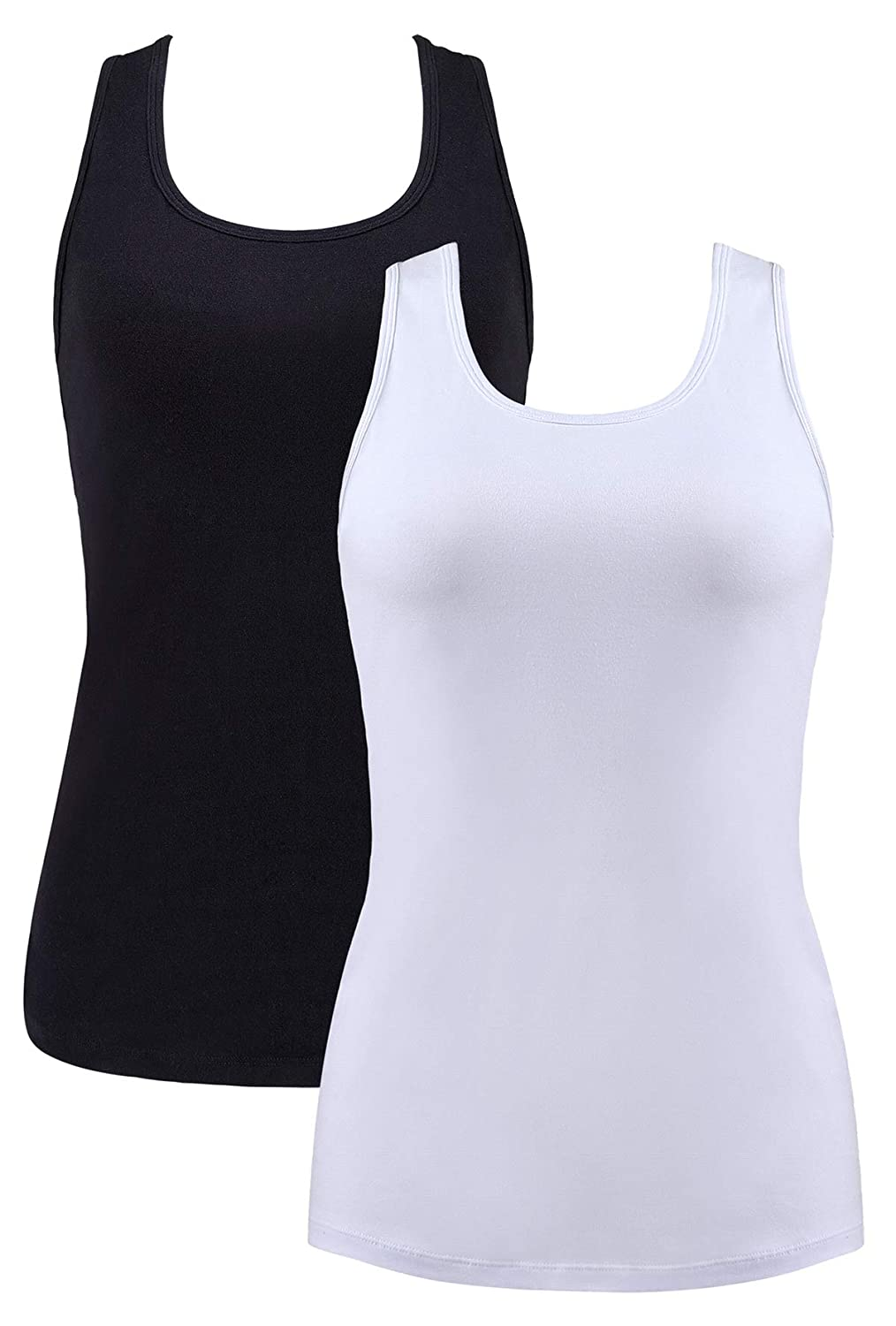 Black White 2(no Bra) belamo Women's Cotton Camisoles Basic Solid Camis Tank Top with Self Bra 2 Packs