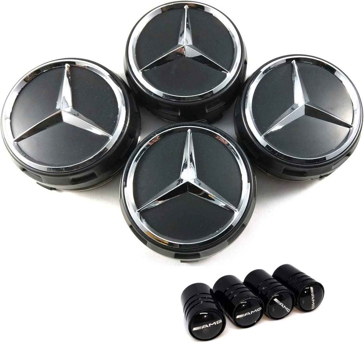 4pcs centres de roue cache moyeu emblème voiture Mercedes Gris 75mm