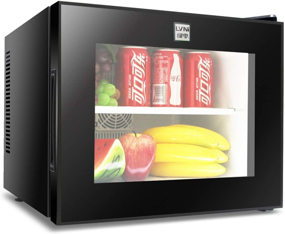 L@LILI Mini Nevera con Vidrio Templado Puerta Visual-refrigerador y Calentador-congelador Vertical y refrigerador Compacto-Incluye enchufes para Cables de alimentación AC & DC, 20L