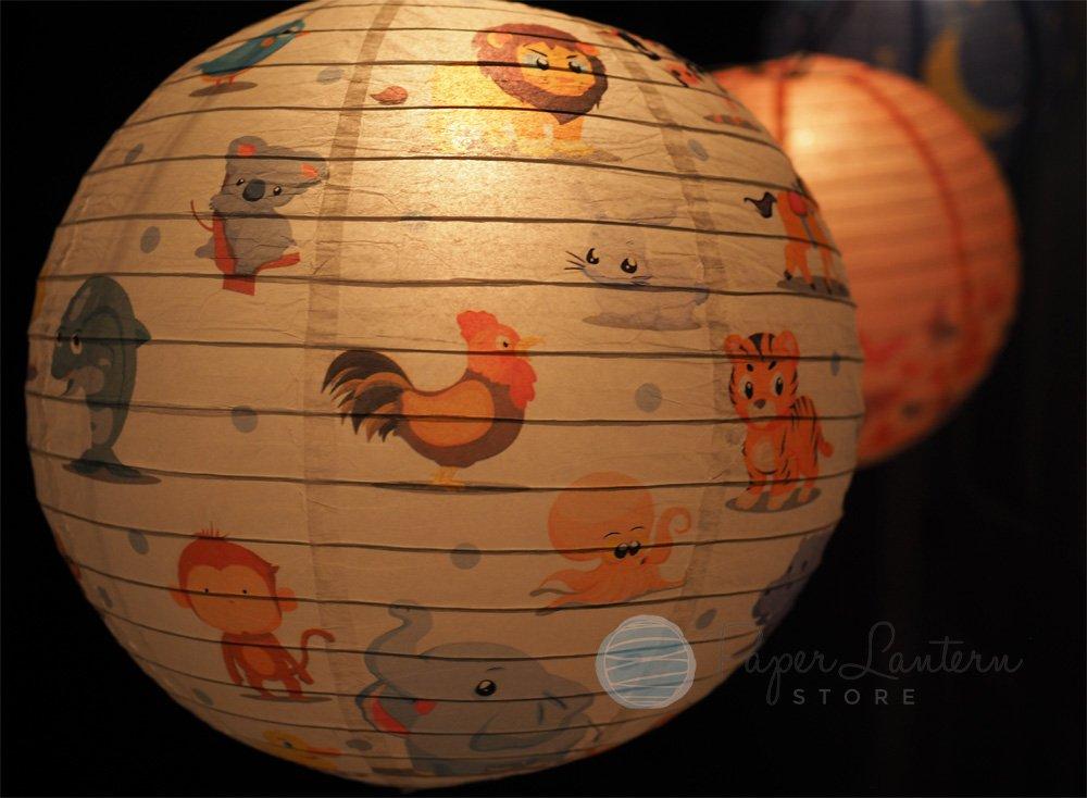 Quasimoon PaperLanternStore.com 14'' Premium Print Cute Animal Parade Paper Lantern, Design by Esper
