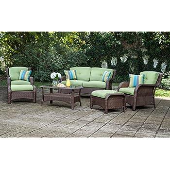 La-Z-Boy Outdoor Sawyer 6 Piece Resin Wicker Patio Furniture Conversation Set (Cilantro Green) With All Weather Sunbrella Cushions