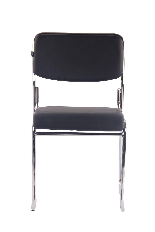 CLP Besucherstuhl Kahla mit hochwertiger Polsterung und Kunstlederbezug I Stapelstuhl mit gepolsterter Sitzfl/äche und R/ückenlehne Creme