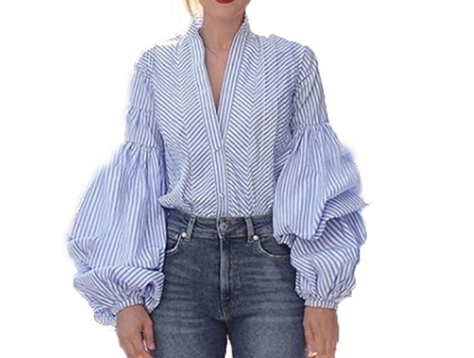 59f0cf5af5b4b XBRECO Fashion Plaid Lantern Sleeve Blouse Women's Tops Sexy deep V Neck  Summer Shirt Female Long