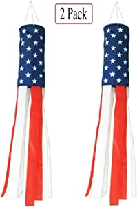Jxystore 2 Pack American Flag Windsock(40 Inch), Stars & Stripes USA Patriotic Wind Socks Decorations, Outdoor Hanging 4th of July Decor