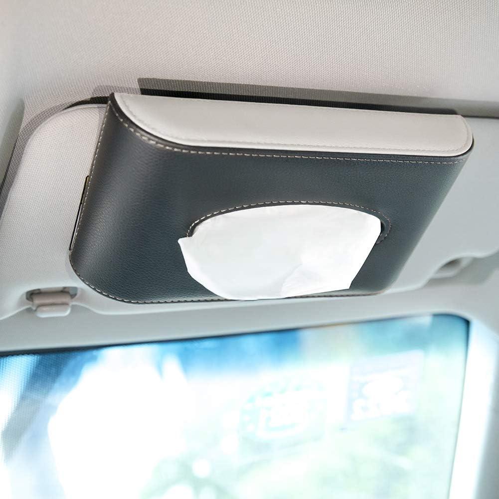 PU Leather Tissue Box Holder for Car CLEESINK Car Tissue Holder Visor Refill Paper Included Door Side//Seat Back//Car Visor Sun Visor Napkin Container with Metal Clip Black/&Beige