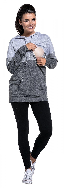 Zeta Ville Damen 503c Still-Sweatshirt Farbblock Kapuze Top K/ängurutaschen