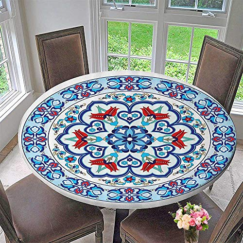 (Mikihome Round Fitted Tablecloth Ottoman Turkish Style with Tulip Period Ceramic Floral Elements European 59
