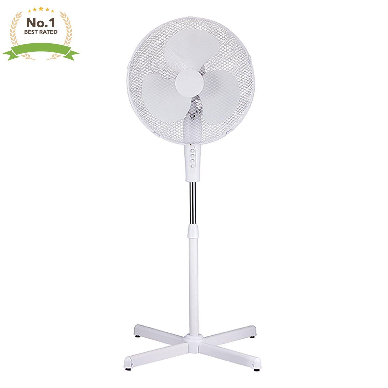 White 16'' High Velocity Fan 3-Speed Oscillating Standing Floor Adjustable Height - New Modern Design