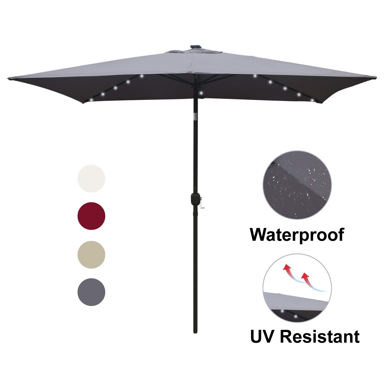 ABCCANOPY Rectangular Patio Umbrella Solar Powered Outdoor Umbrellas Market Table Umbrella with 26 LED Lights, Tilt and Crank for Patio Deck and Pool, 6.6 by 9.8 Ft (Dark Gray)