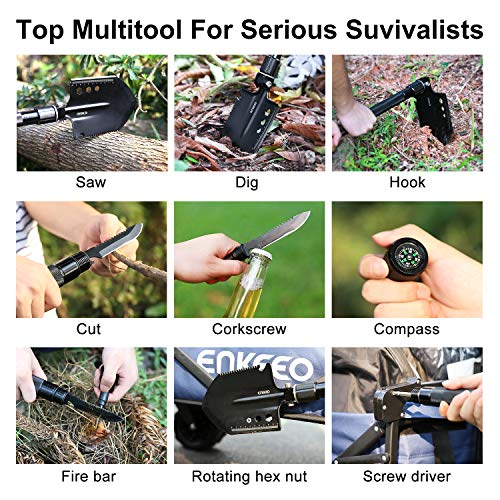 ENKEEO Military Folding Shovel Multitool for Scout, Hiking, Backpacking, Adventure Cycling, Dry Camping, Trenching, Emergency and Survival by ENKEEO (Image #2)
