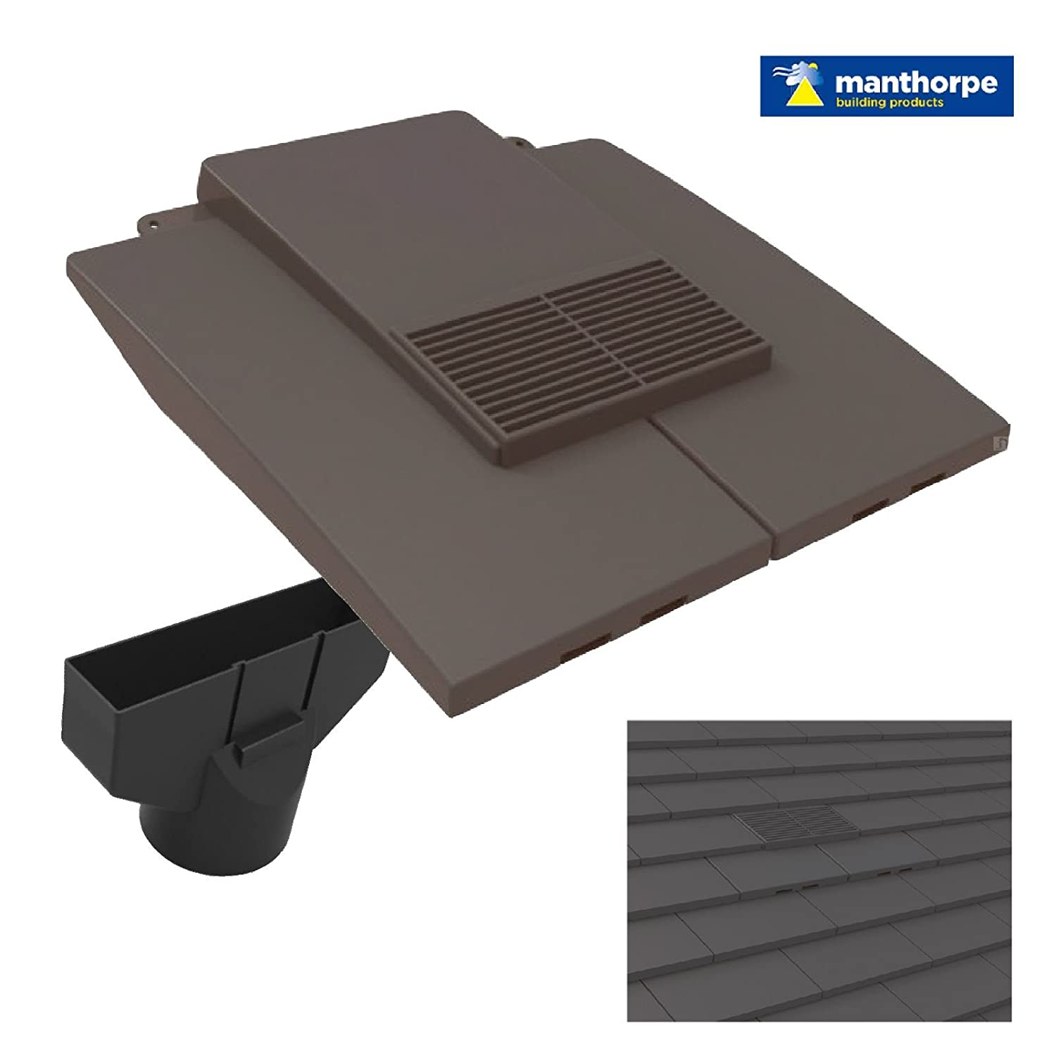Grey Plain In Line Roof Tile Vent & Pipe Adaptor / for concrete and clay Tiles Manthorpe