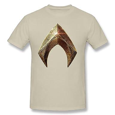 TANXJ Mens Justice League Aquaman Logo T-shirt Natural