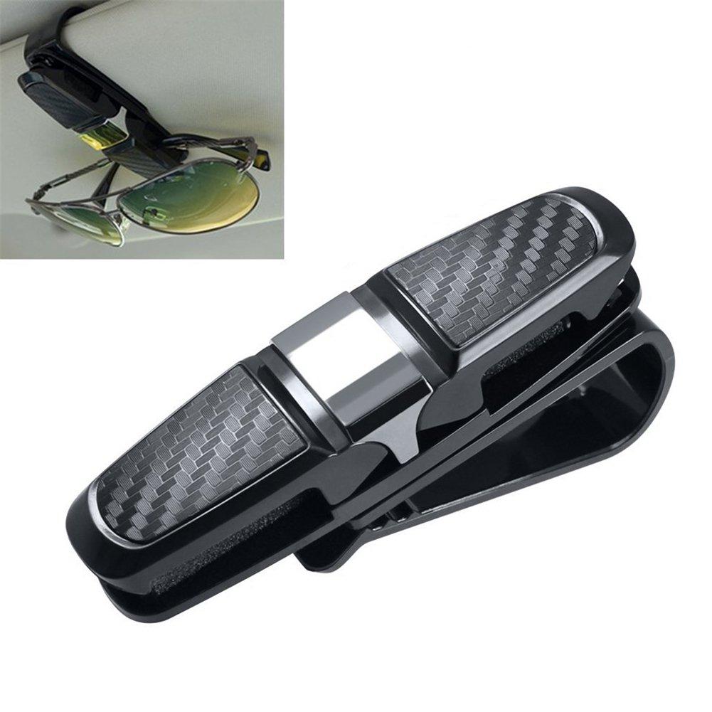 Porte-lunettes IHRKleid - Pour fixation sur le pare-soleil des voitures et rangement des lunettes de soleil - Ajustable à 180° - De couleur argent et violette - Avec compartiment pour carte et ticket.