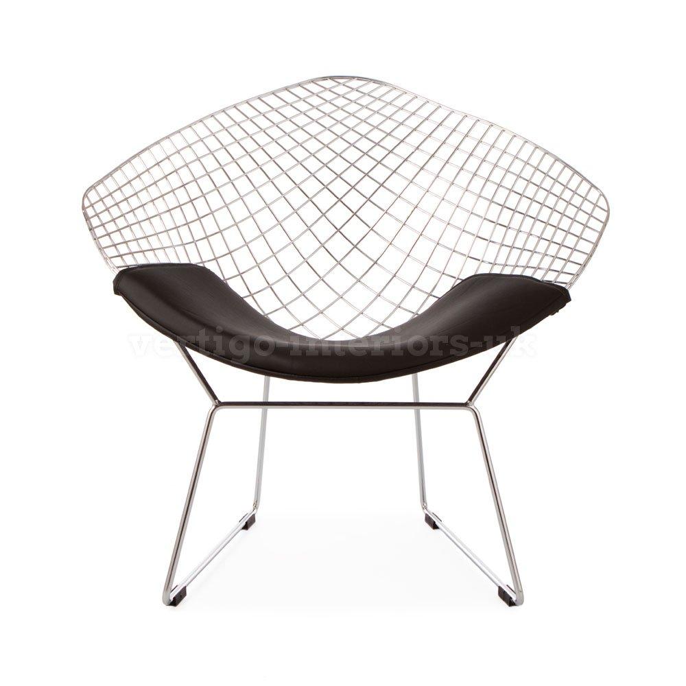 Amazon.com: Mid Century Modern Design Harry Bertoia Style Diamond Lounge  Chair   Black Seat Pad: Kitchen U0026 Dining