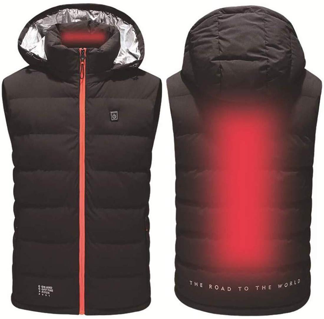 Männer Frauen USB-Lade elektrisch Beheizte Weste Jacken-Mantel-Kleidung Ski-Winter-warme Heizkissen Körperwärmer Mantel,Orange,XL