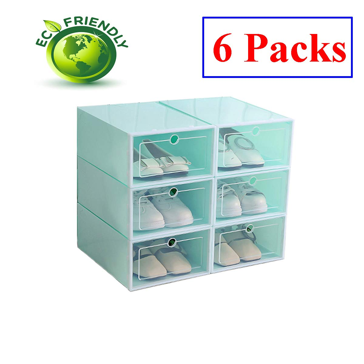 Hwalla Shoe Boxes Clear Plastic Stackable,Back to School,Shoe Box Size Storage Containers Lids (Green, 6 Pack) Chongfox