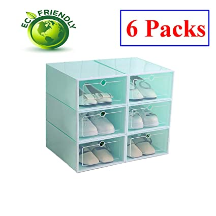 Amazon.com: Hwalla Shoe Boxes Clear Plastic Stackable,Back to School,Shoe Box Size Storage Containers Lids (Green, 6 Pack): Home & Kitchen