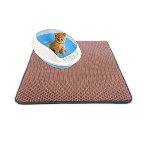 b19aa593e Image Unavailable. Image not available for. Color: Keebgyy Cat Litter Mat,  Foldable Double-Layer Honeycomb ...