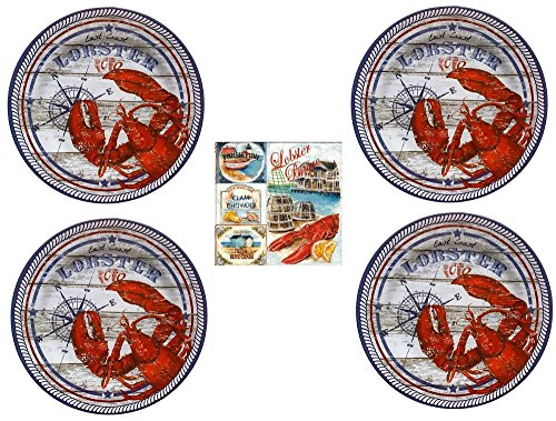 Lobster Dinner Plates (Set of 4 Round Melamine Plates) with Pack of 20 Seafood Themed Paper Napkins