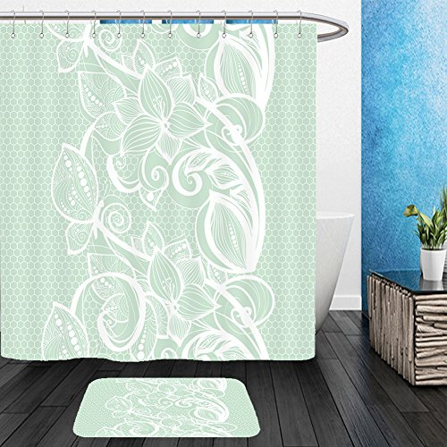 Vanfan Bathroom 2 Suits 1 Shower Curtains & 1 Floor Mats seamless pattern white lace on mint green background old vintage lace texture floral ornament 587780360 From Bath - Westgate Phoenix