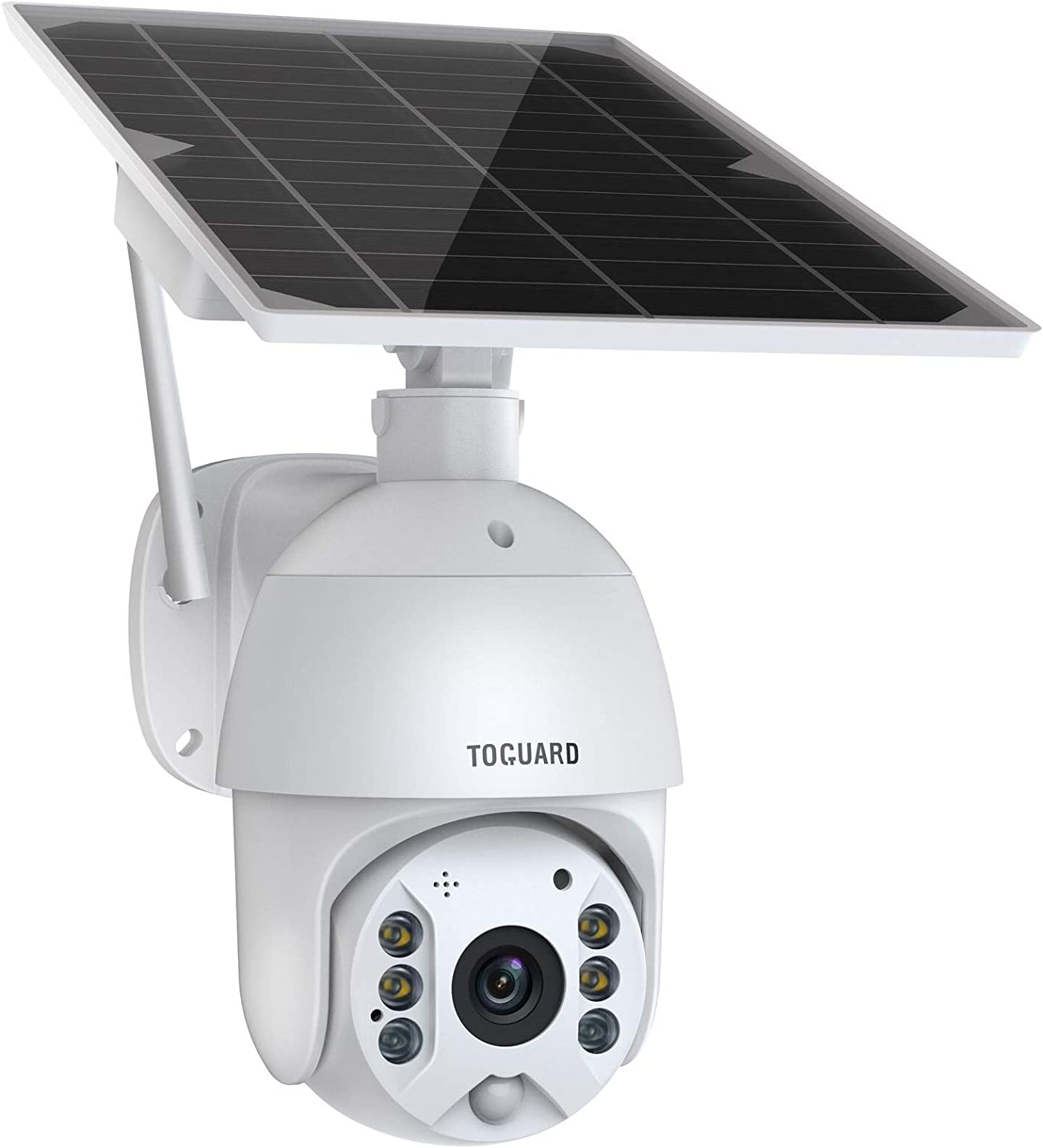 TOGUARD Wireless Security Camera Outdoor Solar Powered Battery PTZ Security Camera 1080P Waterproof IP Dome Cam with 2-Way Audio PIR Radar IP65 Full-Color Night Vision Motion Detection