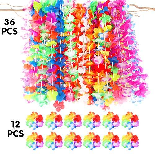 Luau party supplies-36ct tropical hawaiian luau flower leis +12ct luau lei bracelets,hawaiian luau party decorations party favors -