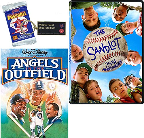 Bases Home Run Loaded Pack Sandlot 25th Anniversary Movie DVD + Mets Subway Keychain & Baseball Cards + Disney Angels in the Outfield Hit Double Feature Films Kids fun