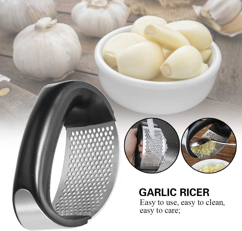 Details about  /1x Stainless Steel Kitchen Garlic Press Crusher Squeezer Manual Chopper Tool US