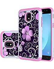 Galaxy J3 Eclipse 2 case,J3 Orbit/J3 Express Prime 3/J3 Prime 2/Amp Prime 3 Case,Turphevm [Shock Absorption] Dual Layer Heavy Duty Protective Cover Rugged Case for Samsung Galaxy J3 2018(Pink Violet)