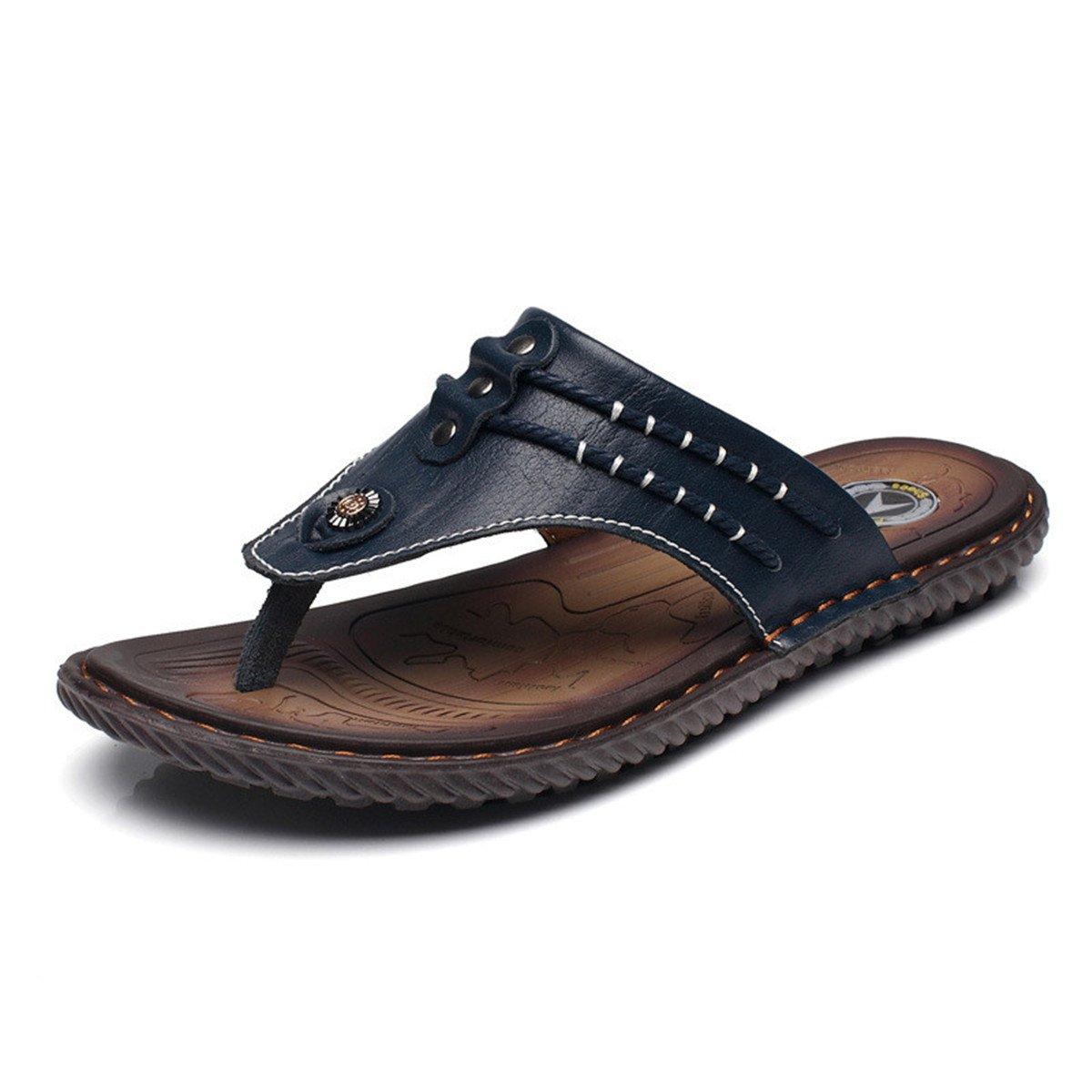 Gracosy Flip Flops, Unisex Zehentrenner Flache Hausschuhe Pantoletten Sommer Schuhe Slippers Weich Anti-Rutsch T-Strap Sandalen fuuml;r Herren Damenr  38 EU|Blau3 Uk-lager