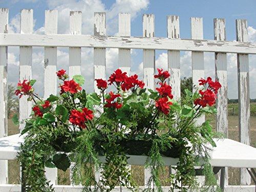 Pure Country Geraniums Silk Window Box Arrangements Red, 15