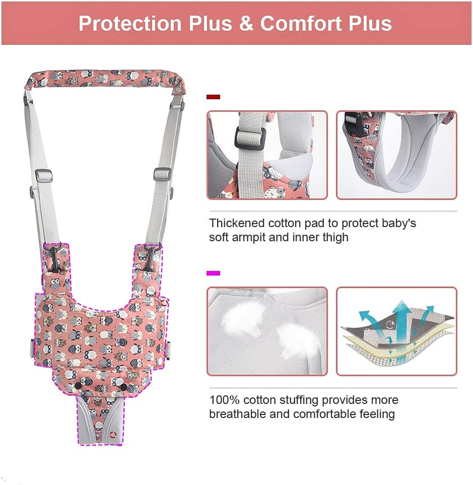 Baby Walker Toddler Walking Assistant Stand Up and Walking Learning Helper for Baby A-Pink 4 in 1 Functional Safety Walking Harness Walker for Baby 7-24 Months