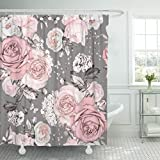 Pink and Grey Shower Curtain Emvency Shower Curtain Pink Flowers and Leaves on Gray Watercolor Floral Pattern Waterproof Polyester Fabric 60 x 72 Inches Set with Hooks