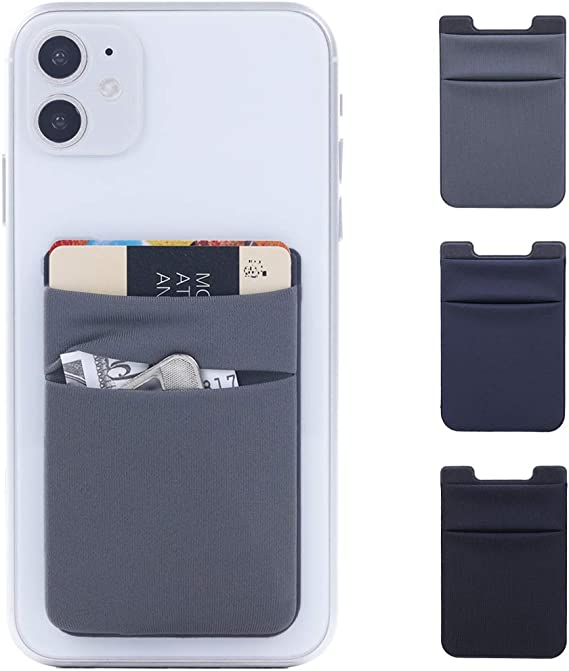 3Pack Adhesive Phone Card Holder Stick on Double Pocket Wallet Stretchy Lycra Credit/ID Card Sleeve Sticker for Back of Phone of iPhone,Android and All Smartphones (Black,Grey,Dark Grey)