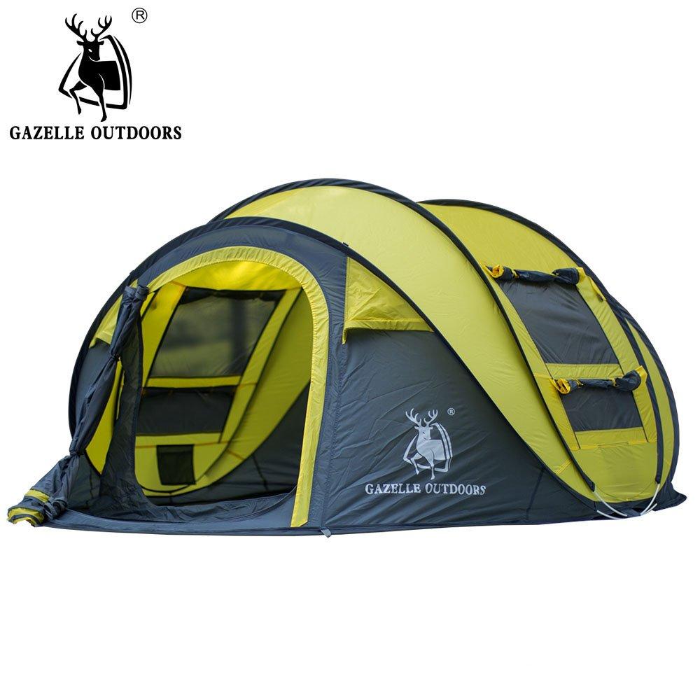 【1年保証】アウトドア キャンプテント 快適 大風大雨防止 組み立て簡単3-4人用  オレンジ B073FKPMHK