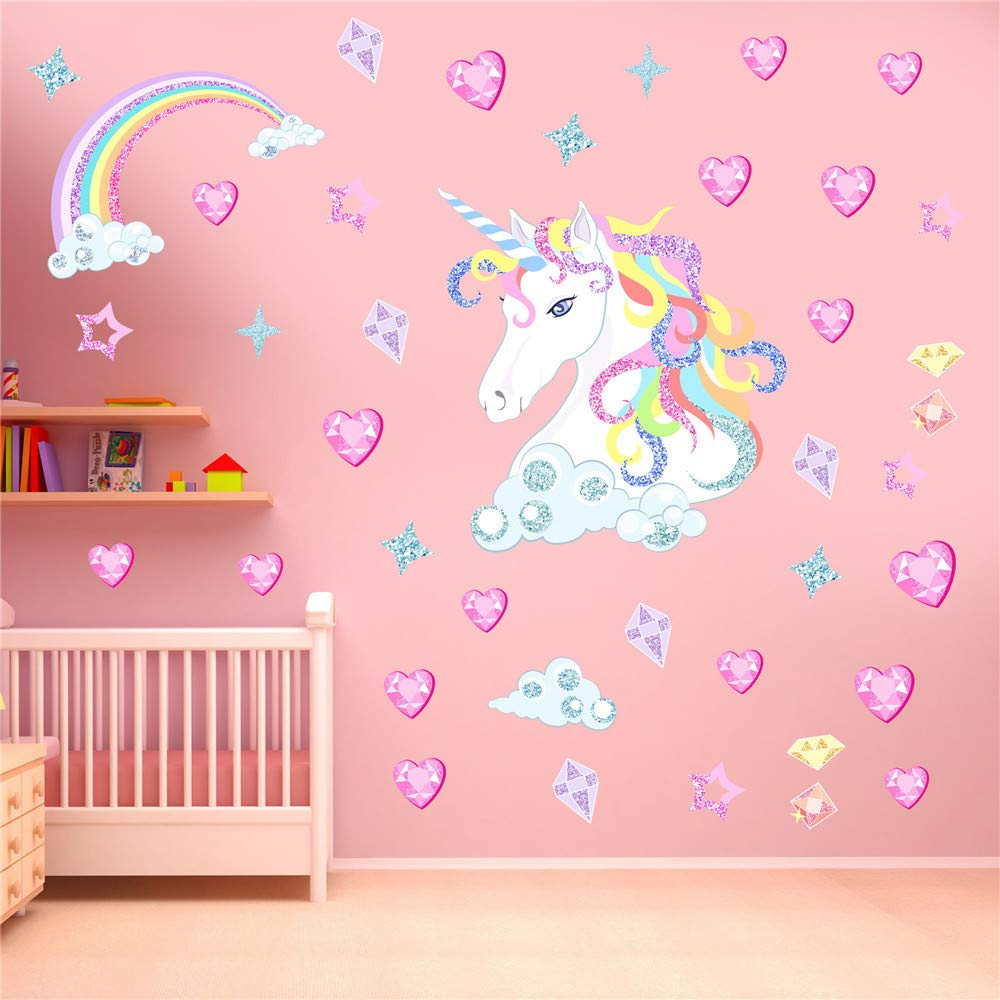 A+B Decor for Girls Bedroom,Unicorn Stickers Wall Decals for Girls Room,Girls Room Wall Decals Unicorn Rainbow Posters Pictures Nursery Decor for Gilrs Kids Baby Bedroom Children Birthy Party