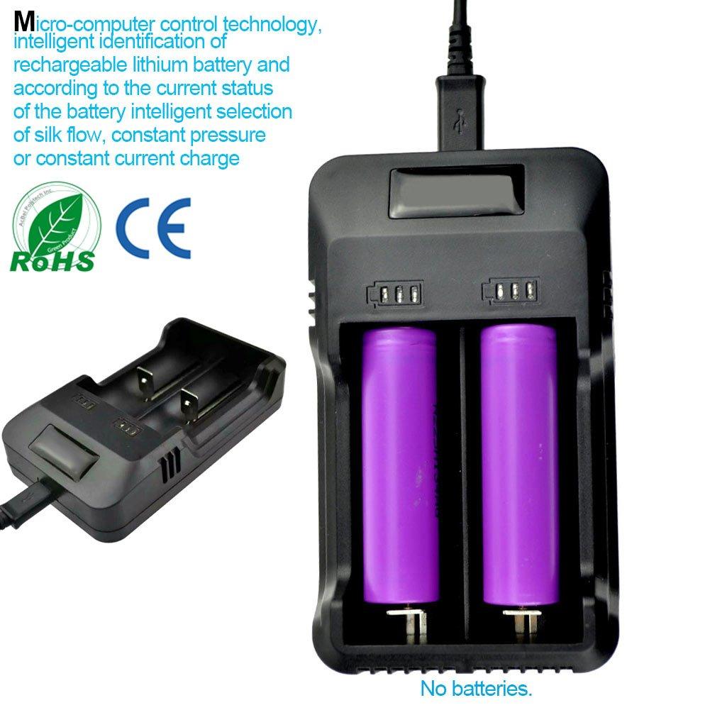 Espeedy Caricabatterie intelligente con display LCD universale a doppia porta per ricaricabile Li-ion 18650 16340