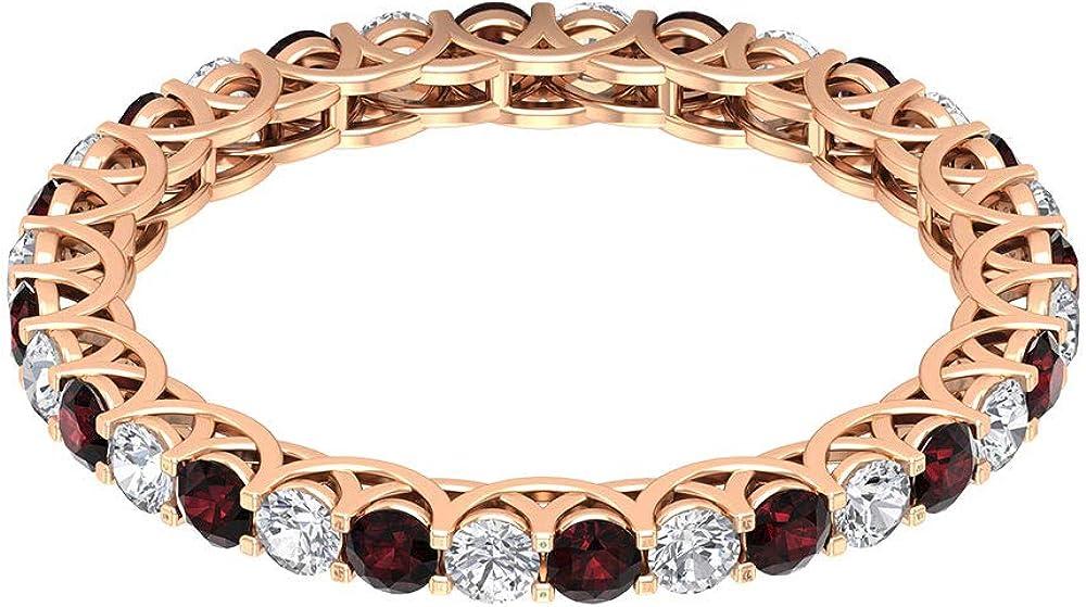 Anillo de declaración de granate certificado de 0,80 ct, anillo de eternidad de diamante clásico de 1/2 ct, anillo de boda de piedra preciosa de 2 mm, 14K Oro